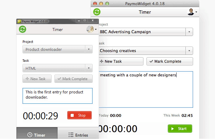 Paymo: Desktop Time Tracker - super easy to use and also allow time tracking and invoicing